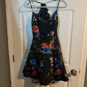 Dresses & Skirts - black flowered homecoming dress, short, lace back